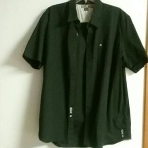 QUICKSILVER BLACK S/S BUTTON DOWN MENS SHIRT SZ XL